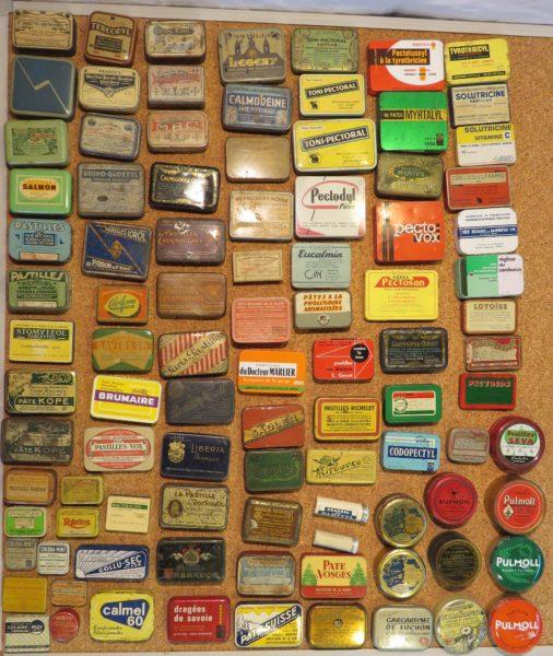 VENDU Collections de boites de pastilles ORL